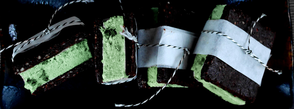 raw vegan mint choc-chip ice cream sandwich